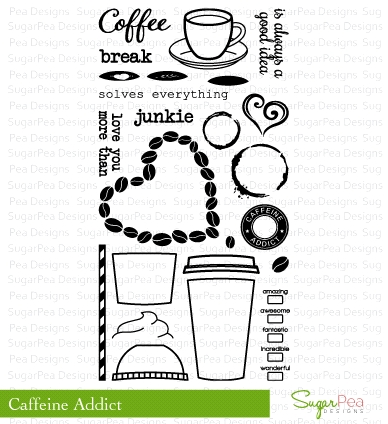 SugarPea Designs CAFFEINE ADDICT Clear Stamp Set
