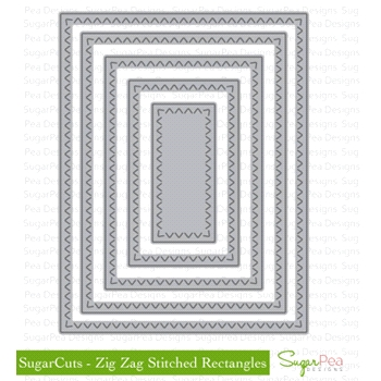 SugarPea Designs ZIG ZAG STITCHED RECTANGLES SugarCuts Dies SPD00134