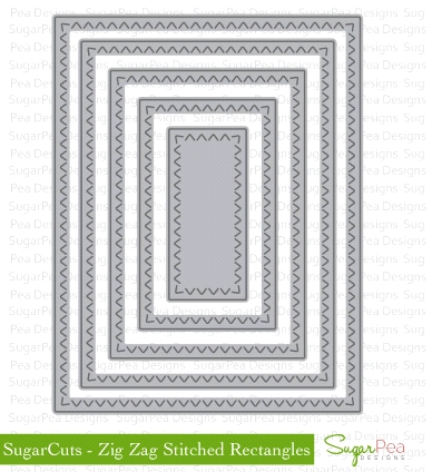 SugarPea Designs ZIG ZAG STITCHED RECTANGLES SugarCuts Dies SPD00134 zoom image