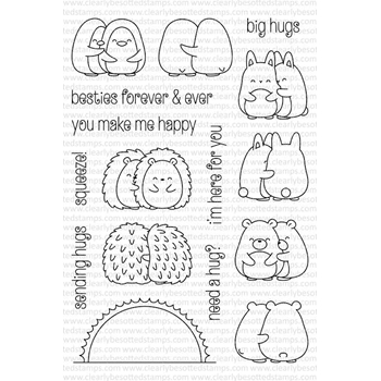 Clearly Besotted HAPPY HUGS Clear Stamp Set