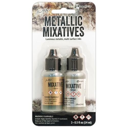 Tim Holtz Alcohol Ink Set GOLD SILVER Metallic Mixatives Ranger Adirondack TIM21247