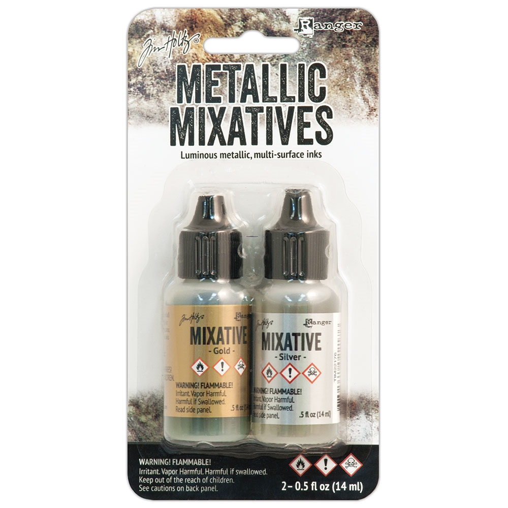 Tim Holtz Alcohol Ink Set GOLD SILVER Metallic Mixatives
