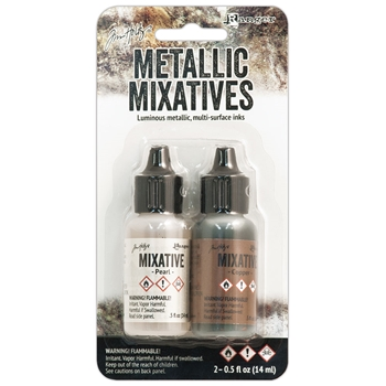 Tim Holtz Alcohol Ink Set PEARL COPPER Metallic Mixatives Adirondack Ranger TIM21254