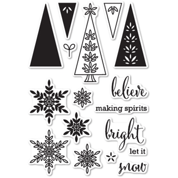 Memory Box Clear Stamps MAKING SPIRITS BRIGHT Open Studio CL5186