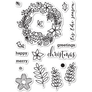 Memory Box Clear Stamps CHRISTMAS BOTANICALS Open Studio CL5187