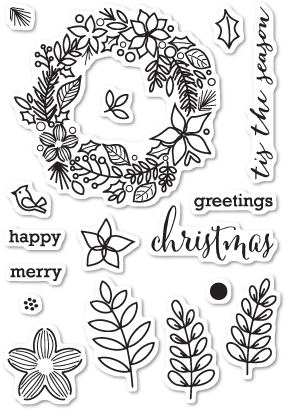 Memory Box Clear Stamps CHRISTMAS BOTANICALS Open Studio CL5187 zoom image