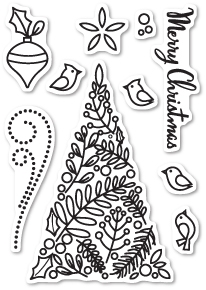 Memory Box Clear Stamps BOTANICAL CHRISTMAS TREE Open Studio CL5189