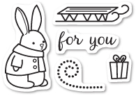 Memory Box Clear Stamps BUNNY GIFT SET Open Studio CL5193