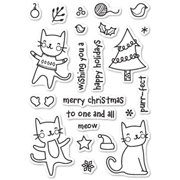 Memory Box Clear Stamps PURRFECT HOLIDAYS POPPY STAMPS CL431