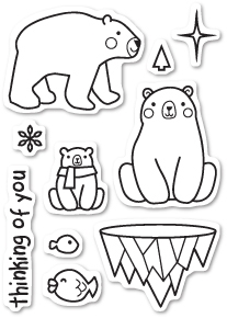 Memory Box Clear Stamps POLAR BEAR FUN POPPY STAMPS CL434
