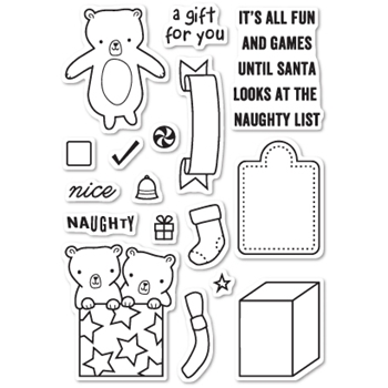 Memory Box Clear Stamps NAUGHTY OR NICE POPPY STAMPS CL436