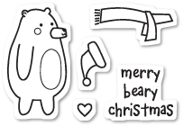 Memory Box Clear Stamps BEARY CHRISTMAS POPPY STAMPS CL438