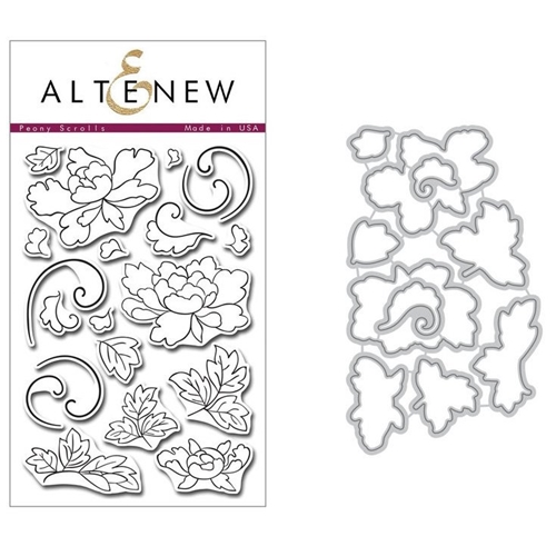Altenew PEONY SCROLLS Clear Stamp and Die BUNDLE Preview Image