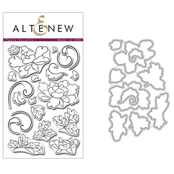 Altenew PEONY SCROLLS Clear Stamp and Die BUNDLE