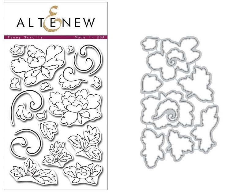 Altenew PEONY SCROLLS Clear Stamp and Die BUNDLE zoom image