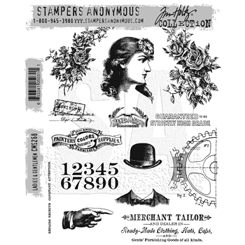 Tim Holtz Cling Rubber Stamps 2016 LADIES AND GENTLEMEN CMS268