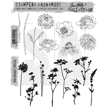 Tim Holtz Cling Rubber Stamps 2016 MINI BOUQUET CMS269