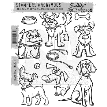 Tim Holtz Cling Rubber Stamps 2016 CRAZY DOGS CMS271