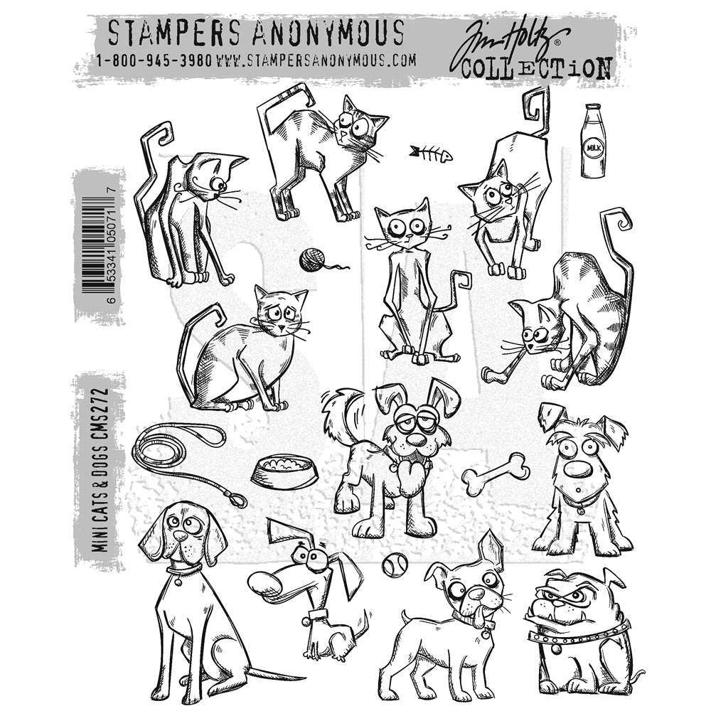 Tim Holtz Cling Rubber Stamps MINI CRAZY CATS AND DOGS CMS272 zoom image