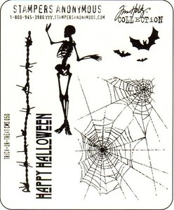 Tim Holtz Cling Rubber Stamps TRICK OR TREAT Halloween Stampers Anonymous CMS050