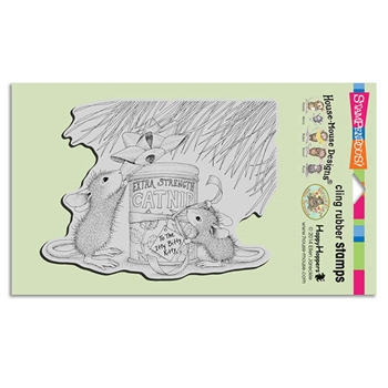 Stampendous Cling Stamp CATNIP GIFT Rubber UM HMCR70 House Mouse