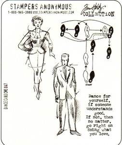 Tim Holtz Cling Rubber Stamps DANCE CARD Stampers Anonymous Preview Image