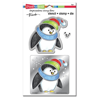 Stampendous WINTER PENGUIN Stamp, Stencil And Die Set MCD8002
