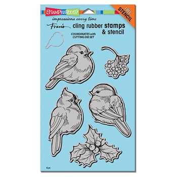 Stampendous Cling Stamps WINTER TWEETS with Stencil UM Rubber CRS5092