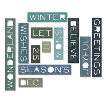 RESERVE Tim Holtz Sizzix HOLIDAY WORDS THIN Thinlits Die 661600