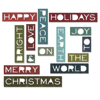 RESERVE Tim Holtz Sizzix HOLIDAY WORDS 2 THIN Thinlits Die 661601