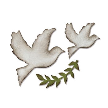 RESERVE Tim Holtz Sizzix ENCHANTED DOVES Bigz Die 661607