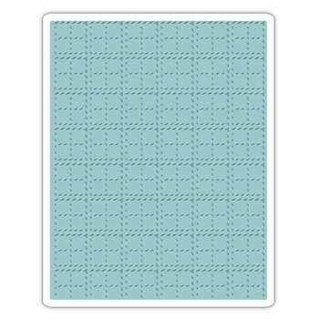 RESERVE Tim Holtz Sizzix STITCHED PLAID Texture Fades Embossing Folder 661610