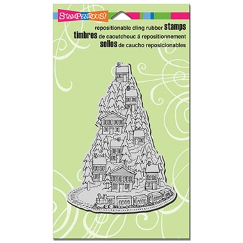 Stampendous Cling Stamp HILL TOP TRAIN Rubber UM CRR276