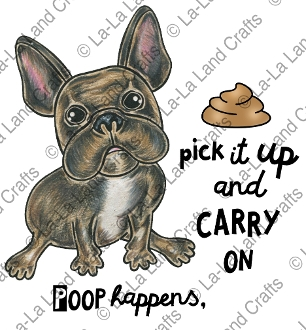 La-La Land Crafts Cling Stamp CARRY ON FRENCHIE 7011