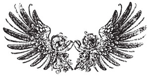 Tim Holtz Rubber Stamp TATTERED WINGS Stampers Anonymous U3-1217 Preview Image