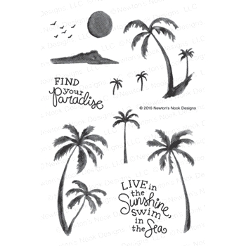 Newton's Nook Designs PARADISE PALMS Clear Stamp Set 20160705