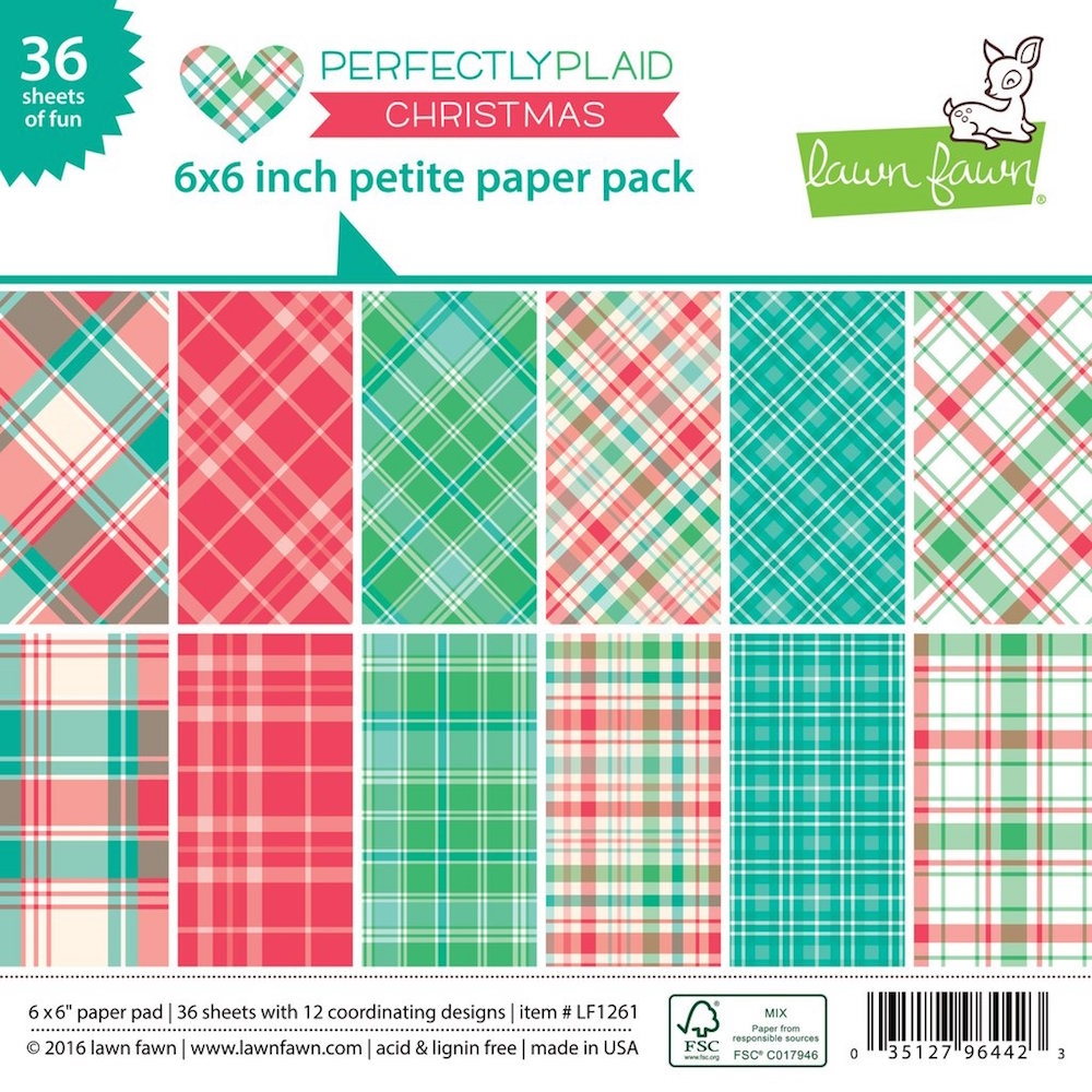 Lawn Fawn PERFECTLY PLAID CHRISTMAS Petite 6x6 Paper Pack LF1261 zoom image