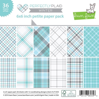Lawn Fawn PERFECTLY PLAID WINTER Petite 6x6 Paper Pack LF1253