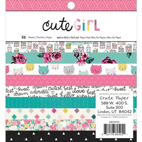 Crate Paper CUTE GIRL 6 x 6 Paper Pad 680505 Preview Image