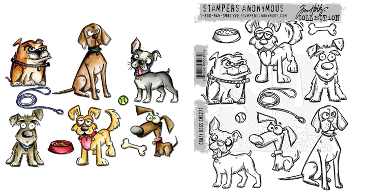 Tim Holtz Sizzix CRAZY DOGS Framelits Die And Cling Stamp Set THS271 zoom image