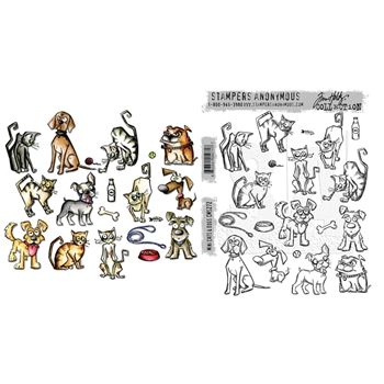 RESERVE Tim Holtz Sizzix MINI CRAZY CATS AND DOGS Framelits Die And Cling Stamp Set THS272