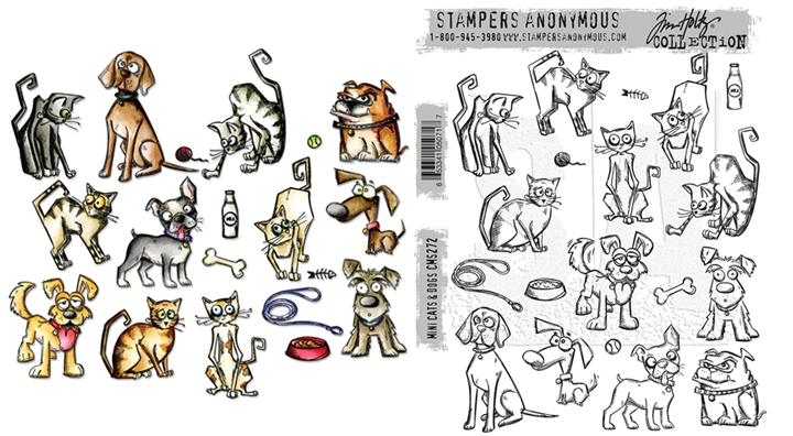 Tim Holtz Sizzix MINI CRAZY CATS AND DOGS Framelits Die And Cling Stamp Set THS272 zoom image