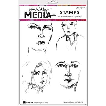 Dina Wakley SKETCHED FACES Media Cling Rubber Stamp MDR52838
