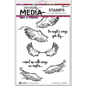 Dina Wakley SCRIBBLY WINGS Media Cling Rubber Stamp MDR52821
