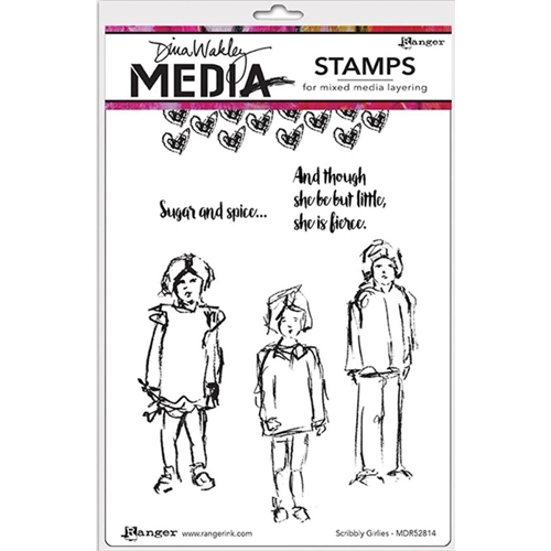 Dina Wakley SCRIBBLY GIRLIES Media Cling Rubber Stamp MDR52814 Preview Image