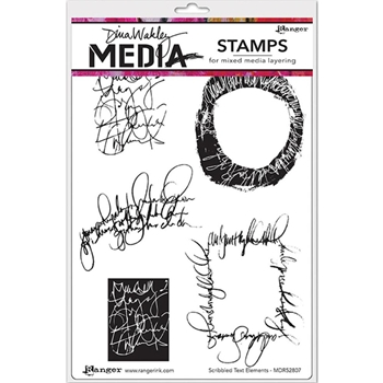 Dina Wakley SCRIBBLED TEXT ELEMENTS Media Cling Rubber Stamp MDR52807