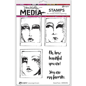 Dina Wakley BOXED FACES Media Cling Rubber Stamp MDR52791