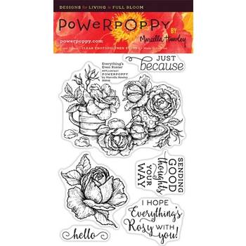 Power Poppy EVERYTHING'S EVEN ROSIER Midsummer Stunner Clear Stamp Set PPJUN1601
