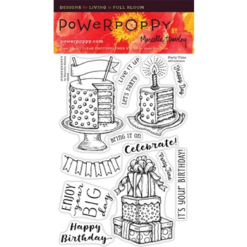 Power Poppy PARTY TIME Midsummer Stunner Clear Stamp Set PPJUN1604