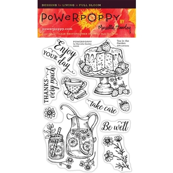 Power Poppy TEA IN THE GARDEN Midsummer Stunner Clear Stamp Set PPJUN1606